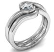 Swirl Diamond Engagement Ring and Matching Wedding Ring Image